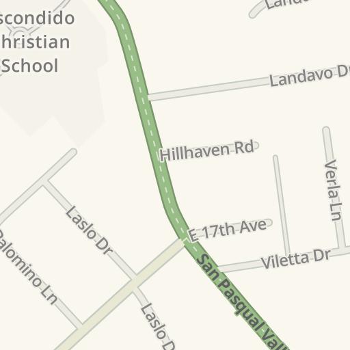 Waze Livemap Driving Directions To El Plantio Nursery Escondido United States