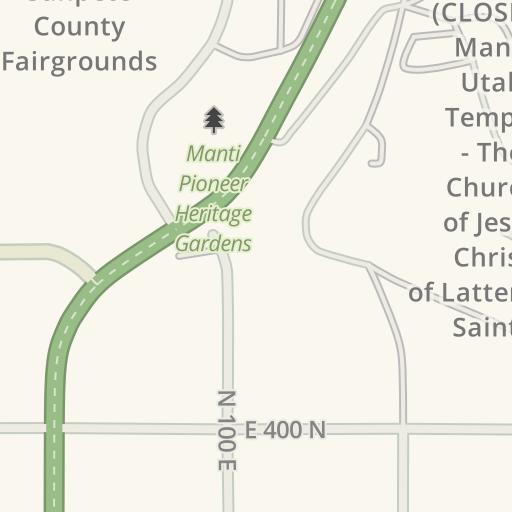 Waze Livemap Driving Directions To Lds Manti Utah Temple Manti